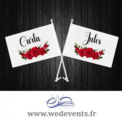 2 drapeaux personnalisés mariage Mr & Mrs pour la voiture des mariés