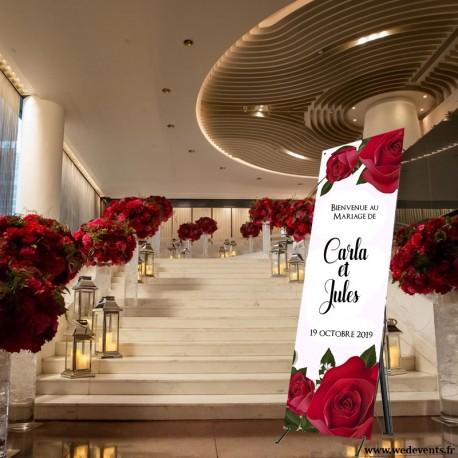 Bannière d'accueil personnalisée mariage roses rouges