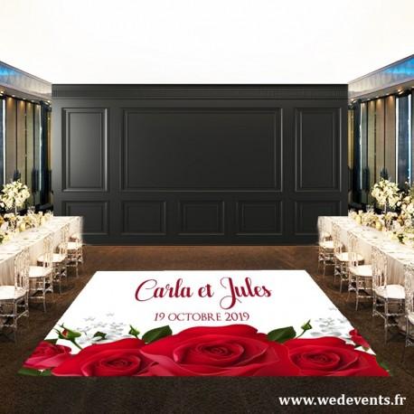 Tapis de piste de danse mariage personnalisé avec prénoms et date roses rouges
