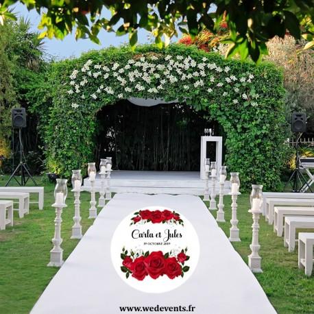 Sticker de sol mariage personnalisé roses rouges
