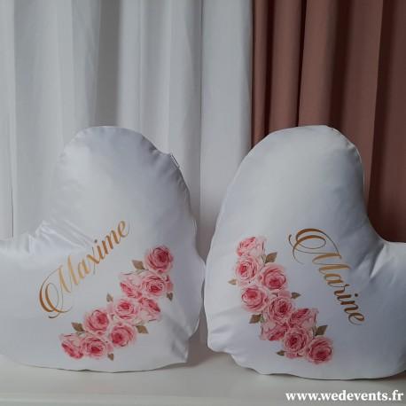 Lot de 2 coussins coeur personnalisés prénoms fleurs roses