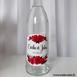Etiquettes de bouteille personnalisées mariage - Roses rouges