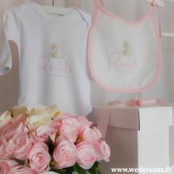 Body et bavoir personnalisés Baby Girl lapin