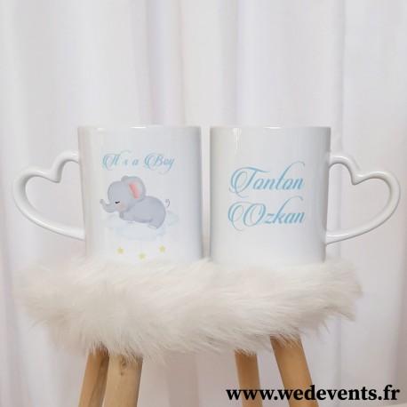 2 tasses personnalisées Baby Boy éléphant