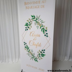 Bannière de bienvenue personnalisée mariage thème nature