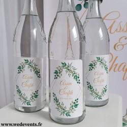 Etiquettes de bouteilles personnalisées mariage nature