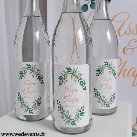 Etiquettes de bouteille personnalisées mariage nature