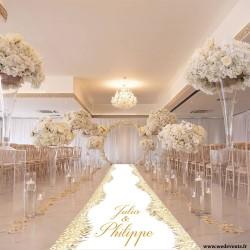 Tapis d'allée personnalisé mariage blanc et or