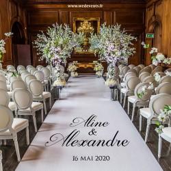 Tapis de cérémonie personnalisé prénoms des mariés