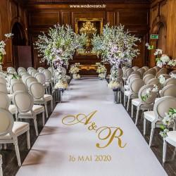 Tapis de cérémonie personnalisé initiales des mariés