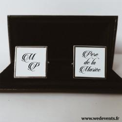 Boutons de manchettes personnalisés initiales des mariés