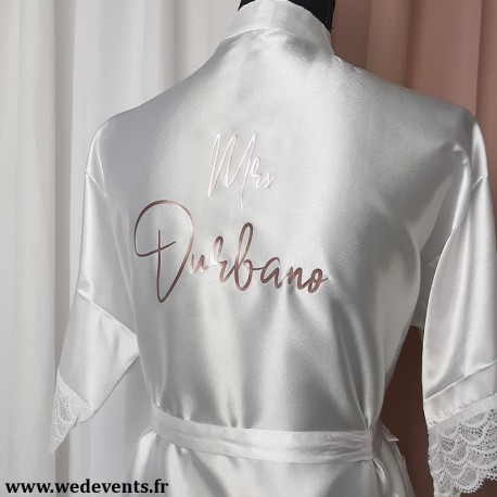 Peignoir mariage en satin blanc personnalisé rose gold