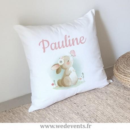 Coussin personnalisé bébé fille - Joli lapin