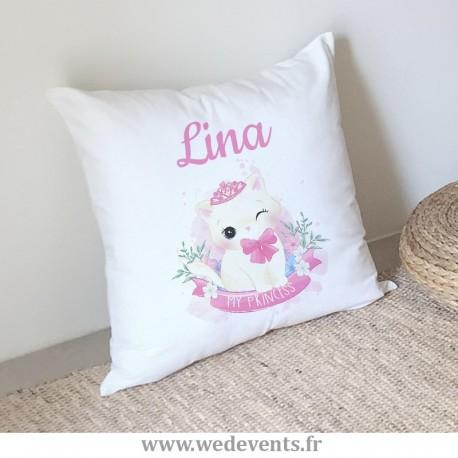 Coussin personnalisé prénom chaton princesse