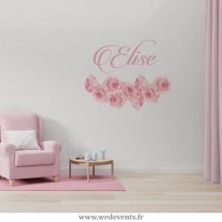 Stickers muraux personnalisés - Fleurs roses prénom