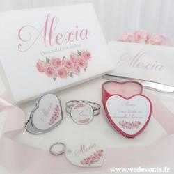 Coffret cadeau demoiselle d'honneur fleurs roses
