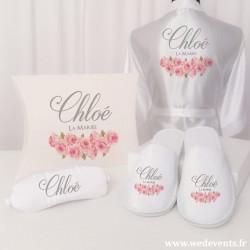 Coffret cadeau mariée personnalisé fleurs roses