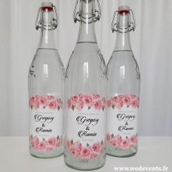 Étiquettes de bouteilles personnalisées mariage - Fleurs Roses