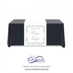 Chemin de table personnalisé Orchidées