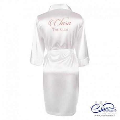 Peignoir femme blanc satin personnalisé prénom de la mariée paillettes mariage