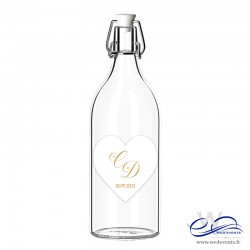 Etiquettes de bouteille personnalisées mariage - Coeur