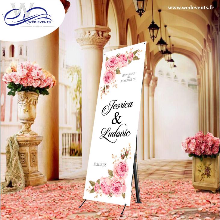 bannière de bienvenue personnalisée mariage fleurs