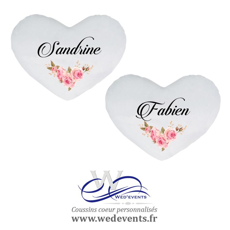 Coussin personnalisé coeur fleurs prénom