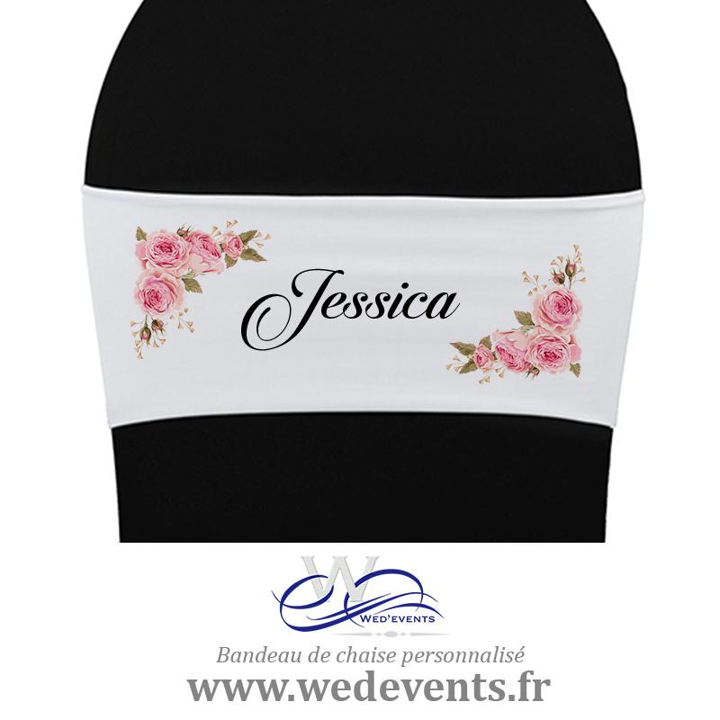 Bandeau de chaise personnalisé mariage fleurs