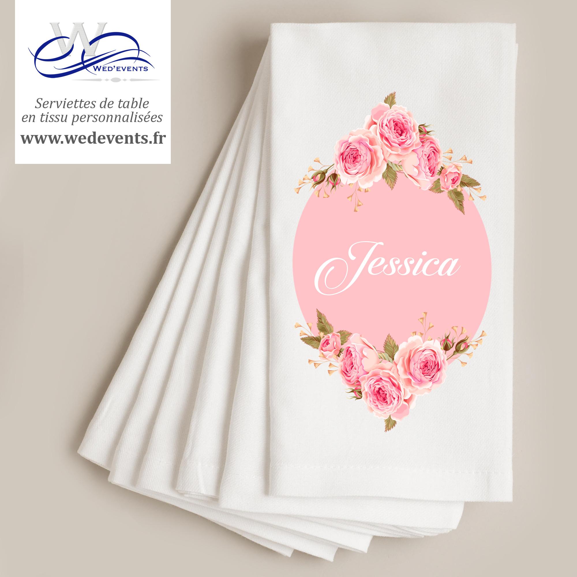 serviette personnalisée mariage fleurs